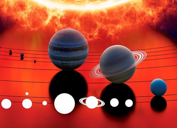 Анимированная модель солнечной системы - наглядно показывает движение планет, их скорость и размеры планет относительно друг друга